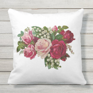 Classic Victorian Roses Lily of the Valley Romance Throw Pillow