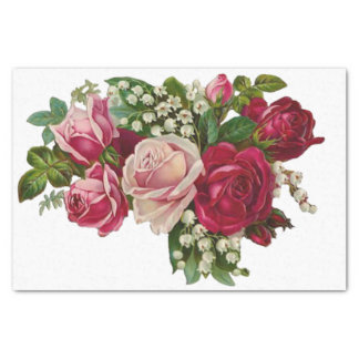 Classic Victorian Roses Lily of the Valley Romance Tissue Paper