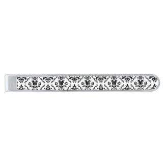 Classic Vintage Black White Damask Pattern Silver Finish Tie Bar