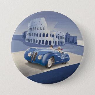 Classic Vintage Blue Race Car 3 Inch Round Button