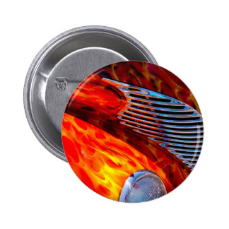 Classic Vintage Car Flame Paint Chrome Red 2 Inch Round Button