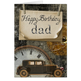 Classic Vintage Car Happy Birthday Dad Card