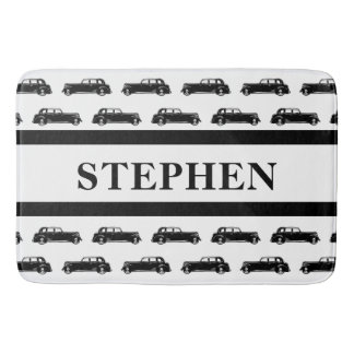 Classic Vintage Car Pattern Personalized Name Bath Mat