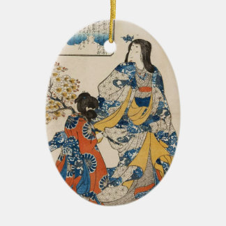 Classic vintage geisha ukiyo-e Utagawa scroll Ceramic Oval Ornament