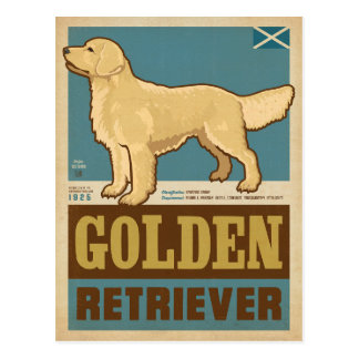 Classic Vintage Golden Retriever Postcard