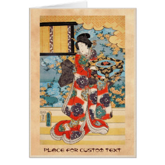 Classic vintage japanese geisha  ukiyo-e Utagawa Card