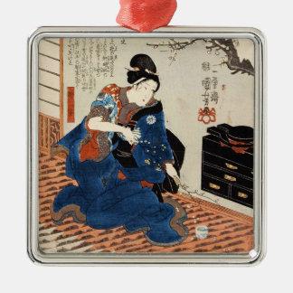 Classic vintage japanese geisha Utagawa art Silver-Colored Square Ornament