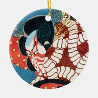 Classic vintage japanese kabuki samurai Utagawa Round Ceramic Ornament