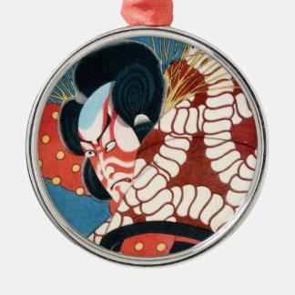 Classic vintage japanese kabuki samurai Utagawa Silver-Colored Round Ornament