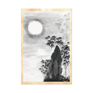 Classic vintage japanese night moon scenery sumi-e canvas print