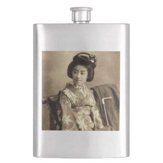 Classic Vintage Japanese Sepia Toned Geisha 芸者 Hip Flask