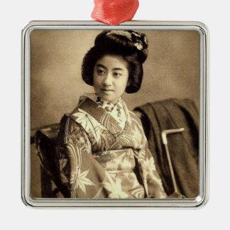 Classic Vintage Japanese Sepia Toned Geisha 芸者 Silver-Colored Square Ornament