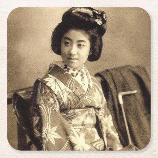 Classic Vintage Japanese Sepia Toned Geisha 芸者 Square Paper Coaster