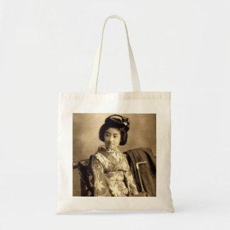 Classic Vintage Japanese Sepia Toned Geisha 芸者 Tote Bag
