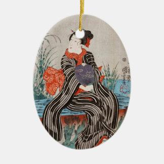 Classic vintage japanese ukiyo-e geisha Utagawa Ceramic Oval Ornament
