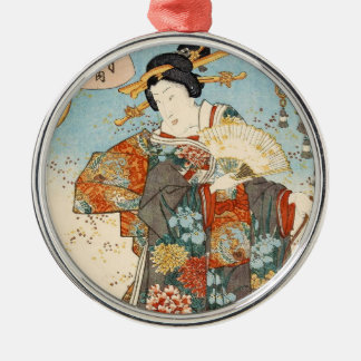 Classic vintage japanese ukiyo-e geisha Utagawa Silver-Colored Round Ornament