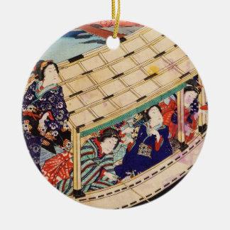Classic vintage japanese ukiyo-e geishas Utagawa Round Ceramic Ornament