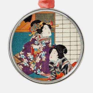 Classic vintage japanese ukiyo-e geishas Utagawa Silver-Colored Round Ornament