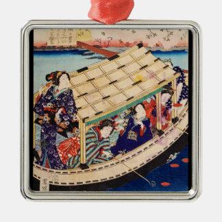Classic vintage japanese ukiyo-e geishas Utagawa Silver-Colored Square Ornament