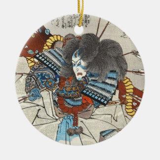 Classic vintage japanese ukiyo-e samurai Utagawa Round Ceramic Ornament