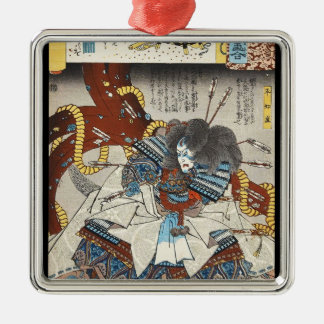 Classic vintage japanese ukiyo-e samurai Utagawa Silver-Colored Square Ornament