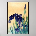Classic vintage japanese ukiyo-e violet irises art poster