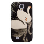 Classic vintage japanese ukiyo-e white swan pond galaxy s4 cases