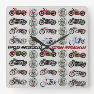 CLASSIC VINTAGE MOTORCYCLES AND METAL SKULLS SQUARE WALL CLOCK