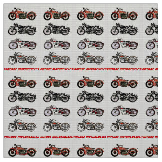 CLASSIC VINTAGE MOTORCYCLES Red Black Grey Fabric