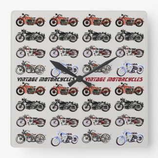 CLASSIC VINTAGE MOTORCYCLES SQUARE WALL CLOCK