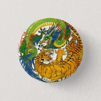 Classic Vintage oriental Yin Yang Dragon Tiger art 1 Inch Round Button