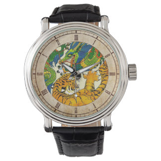 Classic Vintage oriental Yin Yang Dragon Tiger art Watch