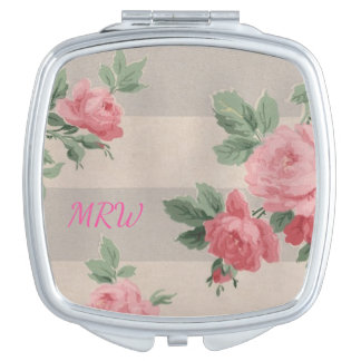 Classic Vintage Pink Rose Stripe Optional Monogram Makeup Mirror