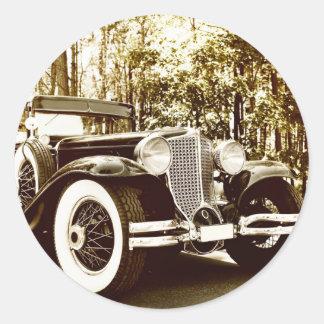 Classic Vintage Sepia Car Classic Round Sticker