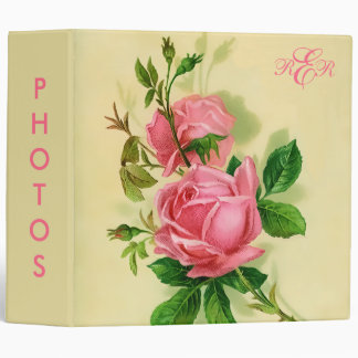Classic Vintage Style Pink Roses Binder