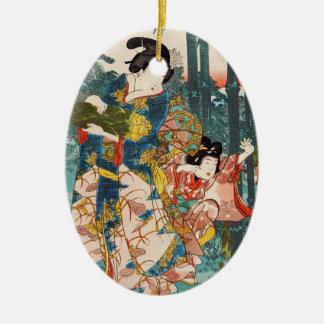 Classic vintage ukiyo-e geisha and child Utagawa Ceramic Oval Ornament