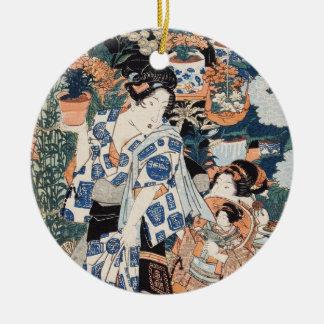 Classic vintage ukiyo-e geisha and child Utagawa Round Ceramic Ornament