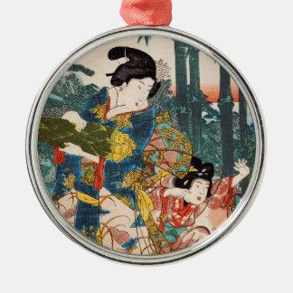 Classic vintage ukiyo-e geisha and child Utagawa Silver-Colored Round Ornament