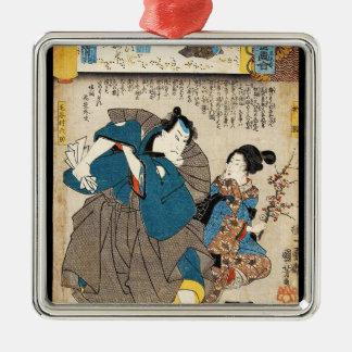 Classic vintage ukiyo-e geisha and samurai Utagawa Silver-Colored Square Ornament