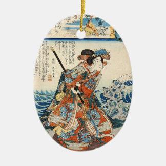 Classic vintage ukiyo-e geisha Utagawa scroll Ceramic Oval Ornament