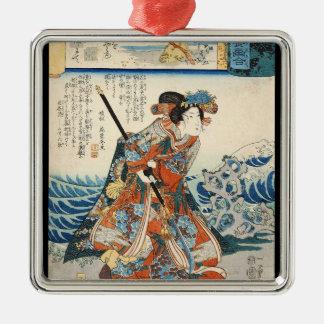 Classic vintage ukiyo-e geisha Utagawa scroll Silver-Colored Square Ornament