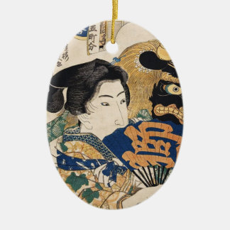 Classic vintage ukiyo-e geisha with fan Utagawa Ceramic Oval Ornament