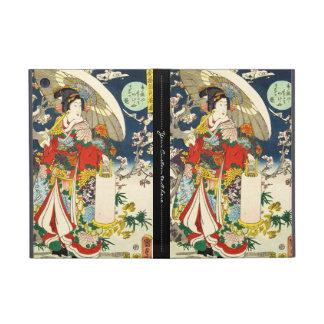 Classic vintage ukiyo-e geisha with umbrella iPad mini case