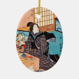 Classic vintage ukiyo-e japanese geisha Utagawa Ceramic Oval Ornament