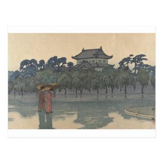 Classic Vintage Ukiyo-e Japanese Rainy Scenery Art Postcard