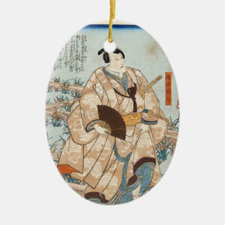 Classic vintage ukiyo-e japanese samurai Utagawa Ceramic Oval Ornament