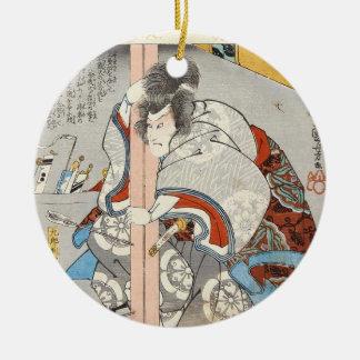 Classic vintage ukiyo-e japanese samurai Utagawa Round Ceramic Ornament