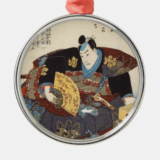 Classic vintage ukiyo-e japanese samurai Utagawa Silver-Colored Round Ornament