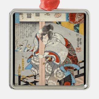 Classic vintage ukiyo-e japanese samurai Utagawa Silver-Colored Square Ornament