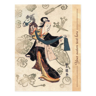 Classic vintage ukiyo-e japanese woman and puppet postcard